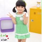ชุดเด็ก(เดรส)สาวน้อยทูโทน(Green) ไซส์ 90,100,120