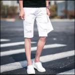 กางเกงขาสั้นแฟชั่้นเกาหลี สีขาวเท่ห์ด้วยรอยขีดขาด