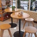 โต๊ะกาแฟกลม 2 ที่นั่ง ดีไซน์เก๋ สำหรับร้านกาแฟ คาเฟ่ ร้านบิงซู (BKN-SET)