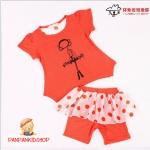ชุดเสื้อส้ม+เลกกิ้งกระโปรงลายจุด ไซส์ 7-9-11-13-15