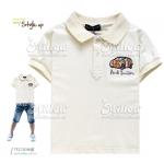 เสื้อผ้าเด็กคอปก สีขาวครีมแขนสั้น ไซส์ 5,7