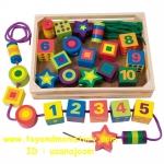 ร้อยเชือกหลากสี ลูกปัดใหญ่ (Melissa & Doug Lacing Beads Includes 27 Wooden Beads and 2 Laces)