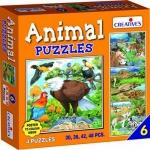 Creative's ของเล่นเสริมทักษะ (Animal Puzzles) ชุดตัวต่อภาพสัตว์ 6 (30, 36, 42, 48 ชิ้น) 8 ปีขี้นไป