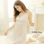 SP011 ชุดนอนกระโปรง ระบายลูกไม้ สวยหวาน สีขาว สายปรับระดับได้
