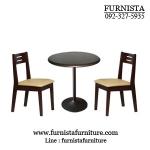 ชุดโต๊ะปิดเมลามีนดำ ขาแชมเปญ+เก้าอี้สีโอ๊คดำ