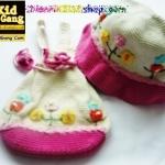 หมวกเด็กฝ้ายถัก+กระเป๋าเป้เด็ก สีขาวขอบชมพู Handmade