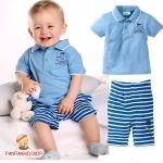 ชุดเสื้อฟ้า+กางเกงลายขวาง ไซส์ 120