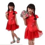 ชุดจีนแฟชั่นเด็ก เ เสื้อ +กระโปรง ปักลายดอกท้อ สีแดงมาใหม่