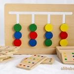 """ของเล่นไม้ อนุกรม 4 สี สื่อการเรียนการสอน ใช้ใน โรงเรียนแบบ Montessori (Educational Wooden Toy Montessori Teaching AIDS """"Four Colors Game Logical Thinking Training"""")"""
