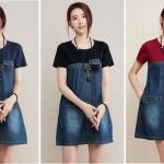 มินิเดรสยีนส์+ผ้ายืดสไตล์เกาหลี เนื้อผ้าดีสวมใส่สะบาย งานนำเข้าแบรนด์แท้