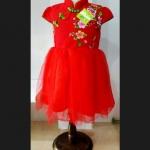 ชุดเดรสแฟชั่นจีนเด็กหญิง ปักลายดอหเล็กๆ สีสันสดใส น่ารัก