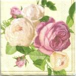 แนวภาพดอกไม้ เป็นช่อดอกกุหลาบสีชมพูครีม บนพื้นครีม เป็นภาพ 4 บล๊อค กระดาษแนพกิ้นสำหรับทำงาน เดคูพาจ Decoupage Paper Napkins ขนาด 33X33cm