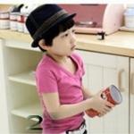เสื้อผ้าเด็ก คอวีแขนสั้น(สีชมพูเข้ม) Niu-Bไซส์ 90,100,120