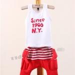 ชุดแฟชั่นเด็ก 2 ชิ้น เสื้อกล้ามสีขาว พิมพ์ since 1906 N.Y+ กางเกงสีขาว-แดงลายริ้วมีปีกน่ารัก สไตล์เกาหลี(เด็ก 6 เดือน-3ขวบ ค่ะ)