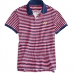 เสื้อโปโล American Eagle STRIPED JERSEY POLO - PINK