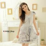 SP017 ชุดนอนกระโปรงลายสวยหวาน สีเทาอ่อน