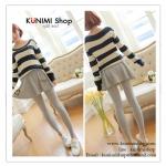 LG051 กางเกงเลคกิ้งขายาว สีเทา มีผ้าประดับเป็นกระโปรง หวานน่ารัก