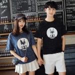 เสื้อคู่รักแขนสั้นมีลายสไตล์เกาหลี