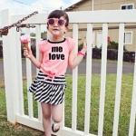 ชุดเสื้อสีโอโรส me love + กระโปรง ไซส์ 100-110-120-130-140