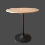 โต๊ะกลมไม้จริงขาแชมเปญสีดำ ขนาด 60 ซม. สีบีช สำหรับร้านกาแฟ