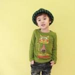 cisi เสื้อยืดเด็กคอกลมแขนยาว สีเขียว ด้านหน้าสกรีนรูปแมว น่ารัก สไตล์เกาหลี