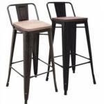 เก้าอี้บาร์เหล็ก พื้นนั่งไม้ ดีไซน์โมเดิร์น สำหรับแต่งร้านกาแฟ คาเฟ่ (SM-DESIGN)