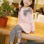 ชุดเซตเด็กหญิง 2 ชิ้น เสื้อ+กางเกง ผ้าเนื้อดีน่ารักสไตล์เกาหลี ( สีชมพู )