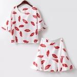 เสื้อแฟชั่นลายปากผ้าไหม 2 ชิ้น ฟรีไซต์ ครบชุด-สีแดง-ขาว