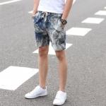 กางเกงขาสั้นแฟชั่้นเกาหลี ลายกราฟฟิค โทรน้ำเงินขาว