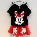 เสื้อดำ Minnie +กระโปรงแดง ไซส์ 7-9-11-13-15
