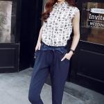ชุดเซ็ทเสื้อ+กางเกงสไตล์เกาหลี เสื้อเชิ้ตแขนกุด กางเกงขายาวเอวมีเชือกพูกโบว์ เนื้อผ้าดีสวมใส่สะบาย