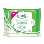 [พร้อมส่ง] Simple Oil Balancing Cleansing Wipes (25 wipes) สำหรับผิวมัน ผิวผสม