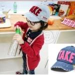 หมวกยีนส์เด็ก TAKE ตัวหนังสือสีชมพู น่ารักสไตล์เกาหลี