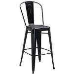 เก้าอี้บาร์เหล็ก สีดำ พนักพิงโค้ง เหมาะสำหรับแต่งร้านกาแฟ คาเฟ่