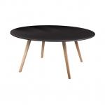 โต๊ะกลมไม้จริง TOP โอ๊ค ขาธรรมชาติ เหมาะสำหรับร้านกาแฟ