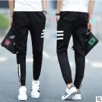 กางเกงแฟชั่นวัยรุ่นเกาหลี ขายาวลายขีดข้าง