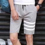 กางเกงขาสั้นแฟชั่้นเกาหลี ลายขีดที่ขา : สีเทา