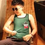 เสื้อกล้ามทอมเต็มตัว ยี่ห้อ Janest สีเขียวติดดาว รุ่นตะขอ(พรีออเดอร์)