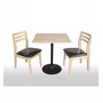 โต๊ะไม้จริง : 75x75x75ซม. สีธรรมชาติ ขาแชมเปญดำ