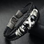 สร้อยข้อมือหนังถัก สแตนเลสสตีล รุ่น KOMA-BR0004 สีดำ