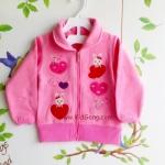 เสื้อผ้าเด็ก สีชมพูลายปักแปะ ไซส์ 80,90,100