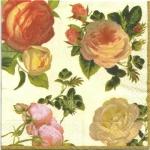 แนวภาพดอกไม้ เป็นช่อดอกกุหลาบ บนพื้นครีม เป็นภาพกระจายเต็มแผ่น กระดาษแนพกิ้นสำหรับทำงาน เดคูพาจ Decoupage Paper Napkins ขนาด 33X33cm สำเนา