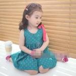 ชุดเดรสเด็ก กระโปรงตกแต่งวงกลม น่ารักสไตล์เกาหลี ขนาด140