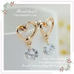 WT018 ตุ้มหู ต่างหูสีทอง และสีชมพูทอง รูปหัวใจ ประดับด้วยเพชรเม็ดใหญ่ สวยหรูคะ
