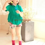 กางเกงเด็กขาสั้นกุหลาบชมพูแดง ไซส์ 7,15