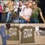เสื้อยืดคอกลม ผ้ายืด cotton ลายมอไซด์ Harley vintage style แบบคุณชมพู่ใส่ แมตช์กับยีนส์จะขาสั้นหรือขายาวเข้ากันค่ะ