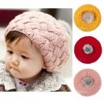 BB012 หมวกไหมพรมเด็กทรงเห็ด ประดับด้วยพู่กลม เส้นใหญ่หนานุ่ม สวย น่ารักมากคะ มีหลายสีให้เลือก