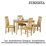 ชุดโต๊ะอาหารไม้จริง 4 ที่นั่ง สีบีช ดีไซน์สวย สำหรับร้านอาหาร (AB-SET)