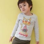 cisi เสื้อยืดเด็กคอกลมแขนยาว สีเเทา ด้านหน้าสกรีนรูปแมว น่ารัก สไตล์เกาหลี