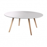 โต๊ะกาแฟกลม TOP สีขาว ขาธรรมชาติ ดูดีมีสไตล์ เข้ากันได้อย่างลงตัว